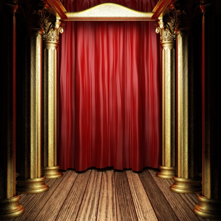 red fabric curtain on golden stage Foto de archivo