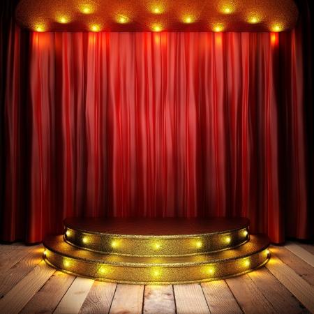 표시: 황금 무대에 빨간색 패브릭 커튼 스톡 사진