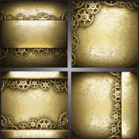 gear wheels on gold background set Vector