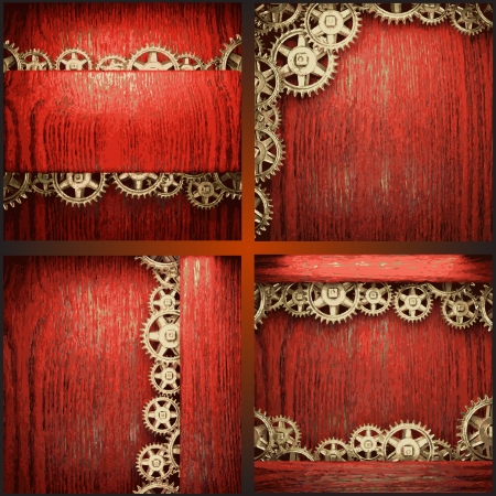 gear wheels on red wood background Vector