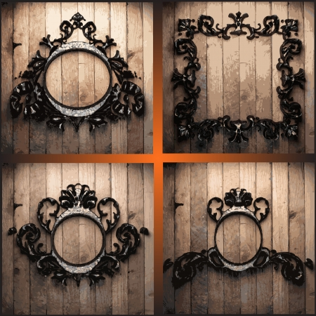 vector retro frames on wood set Stock Vector - 19120915
