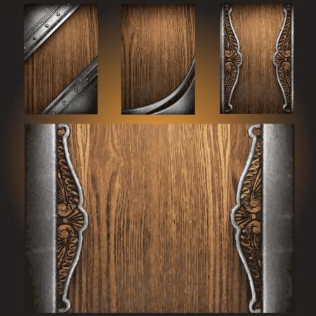 Vector metal on wood background set Stock Vector - 19120916