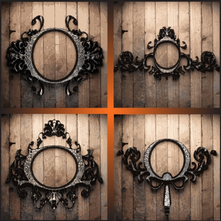 vector retro frames on wood set Stock Vector - 19258637
