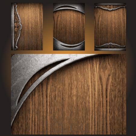 Vector metal on wood background set Stock Vector - 19258638