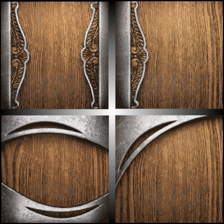 metal on wood background set Vector