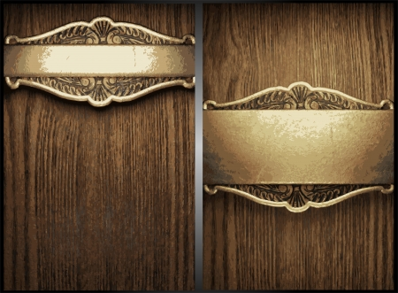 old wood texture: wood and gold background set Illustration