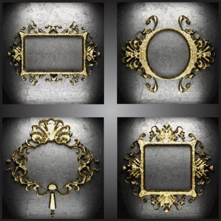 placa bacteriana: establecer marcos de oro Vectores