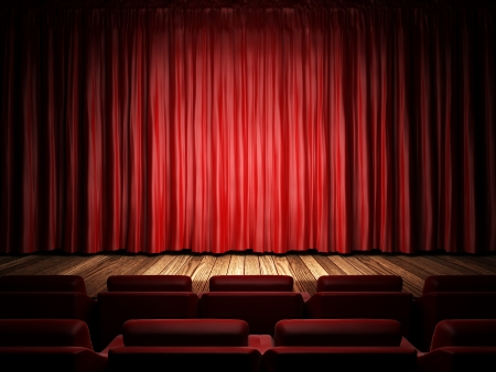 red fabric curtain on stage Foto de archivo