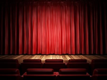 tessuto della tenda rossa sul palco