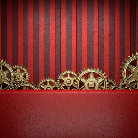 gear wheels on red background photo