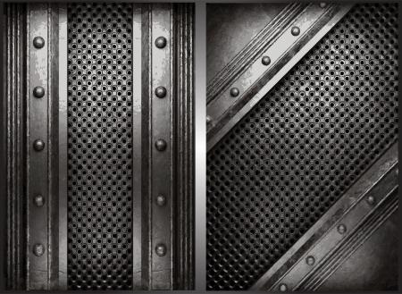metal background set Vector