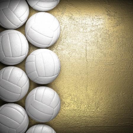voleibol: Bal�n de voleibol y de oro fondo de la pared