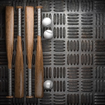Baseball and metal wall background photo
