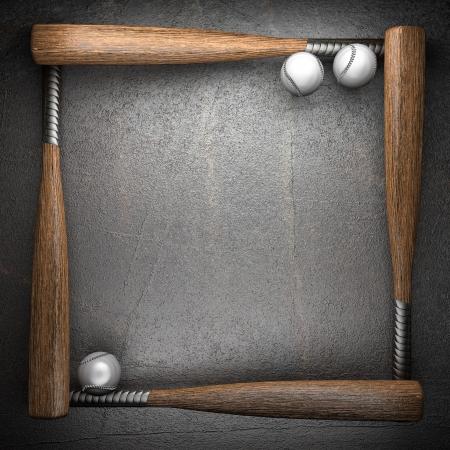 Baseball and metal wall background photo