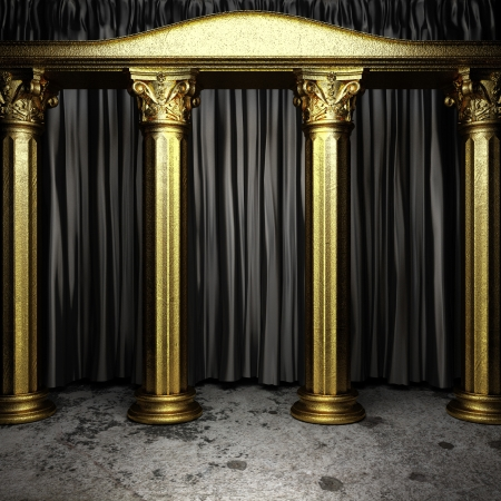 black fabric curtain on golden stage photo
