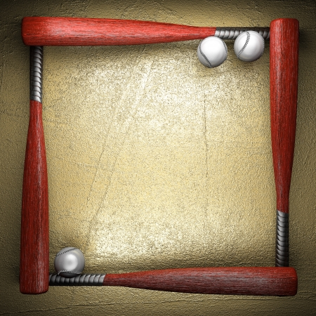 Baseball and golden wall background photo