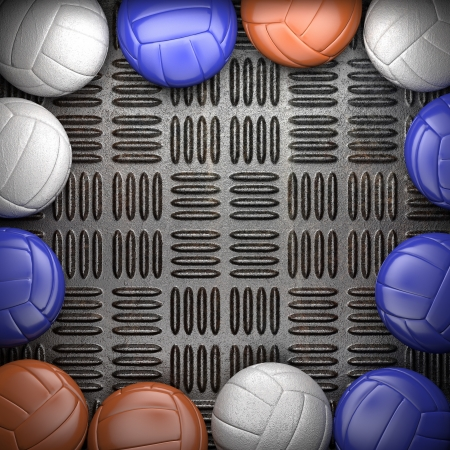 Volleyball ball and metal wall background photo