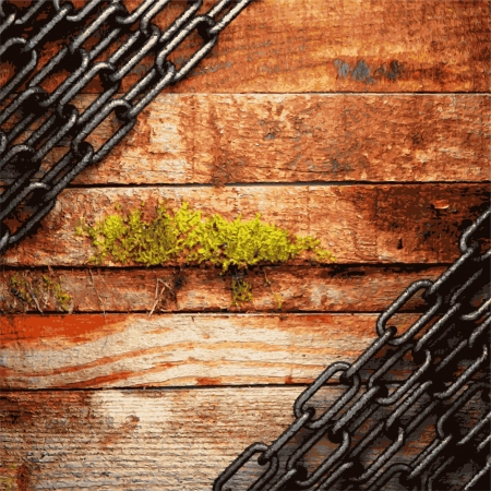 ironworks: metal and wood background Illustration