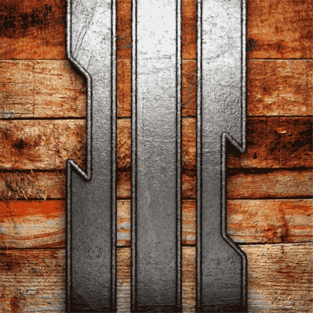 metal and wood background Stock Vector - 20953100