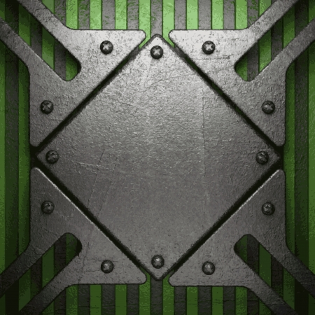 metal surface: metal on green background