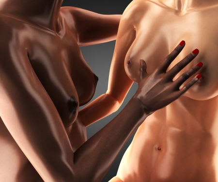 nipple breast: lesbians getting intimate Stock Photo