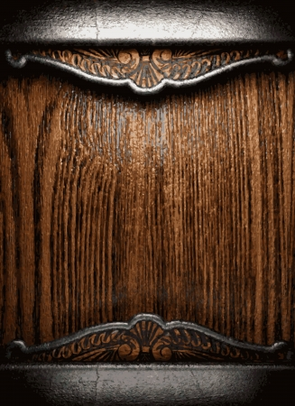polished wood: metal and wood background Illustration