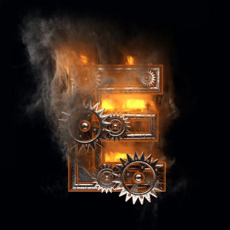 flame letters: burning figure with gears
