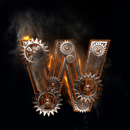 burning figure with gears photo