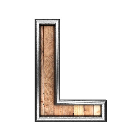 l plate: isolated metal figure with wood