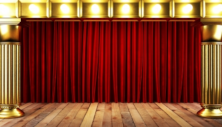 red fabrick curtain with gold on stage photo