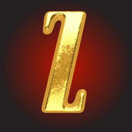 golden letter on red Vector
