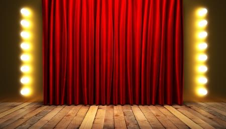 rode fabrick gordijn met goud op het podium Stockfoto