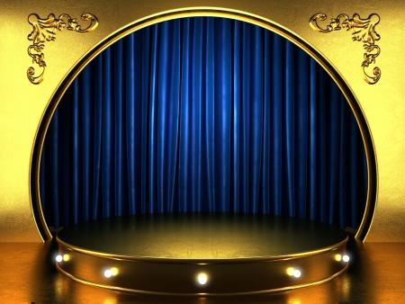 blauwe stof gordijn met goud op het podium