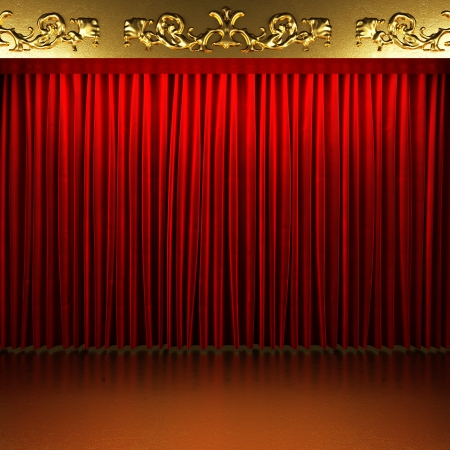 red fabric curtain with gold on stage photo