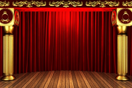 red fabric curtain on golden stage photo