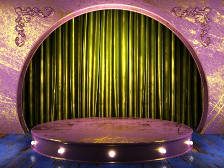 green fabric curtain on stage photo