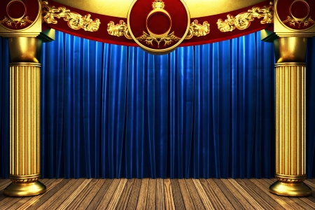 blue fabric curtain on golden stage photo