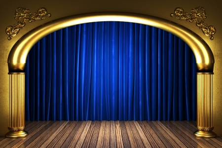 awards ceremony: blue fabric curtain on golden stage Stock Photo