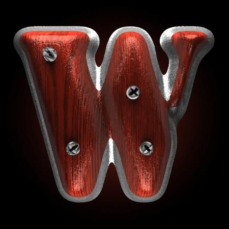 typographer: vector metal and wood figure Illustration