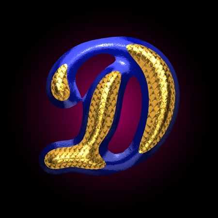 vector golden and blue letter