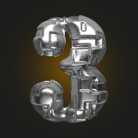 typographer: vector metal figure