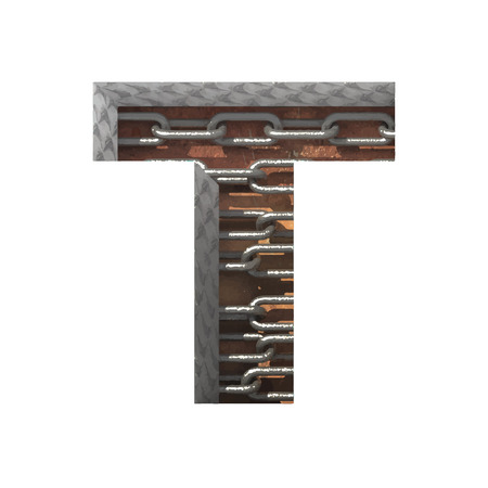 t square: Vector metal cutted figure.