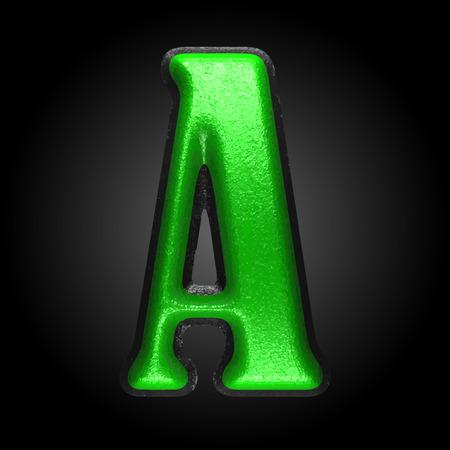 write abc: green plastic figure
