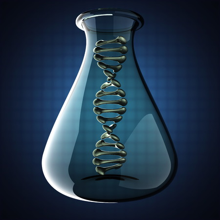 DNA model on blue background photo