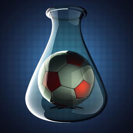 football in Laboratory glassware on blue photo
