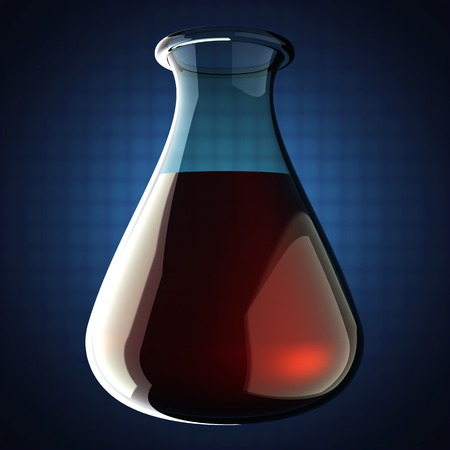blood in Laboratory glassware on blue background photo