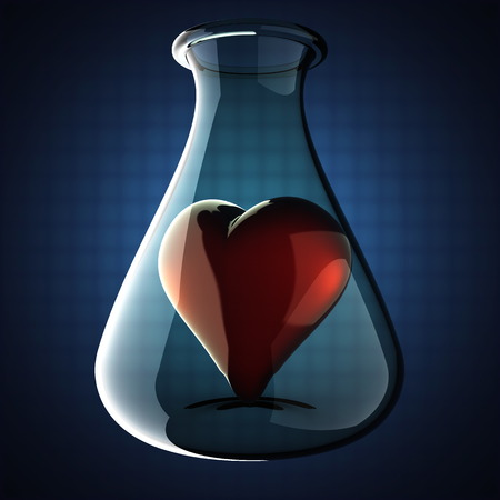 heart in Laboratory glassware on blue background photo