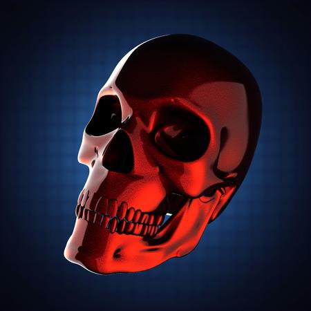 metal skull on blue background photo