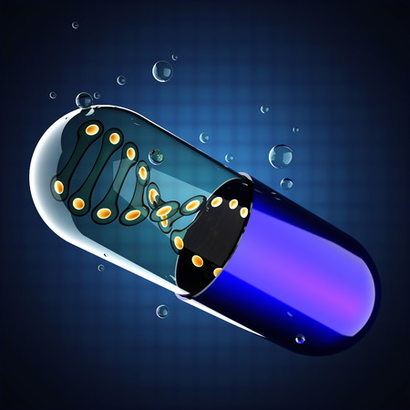 Transparent capsule on blue background photo