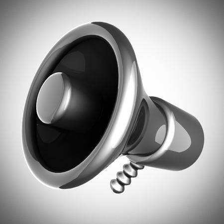 organise: metallic cartoon megaphone